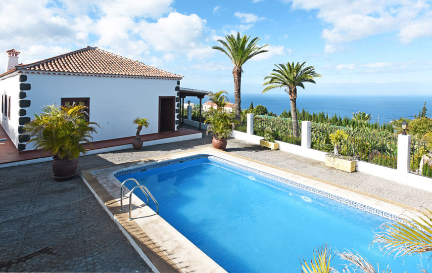 Elegant villa surrounded by palm trees with large outdoor area, private pool and excellent sea views