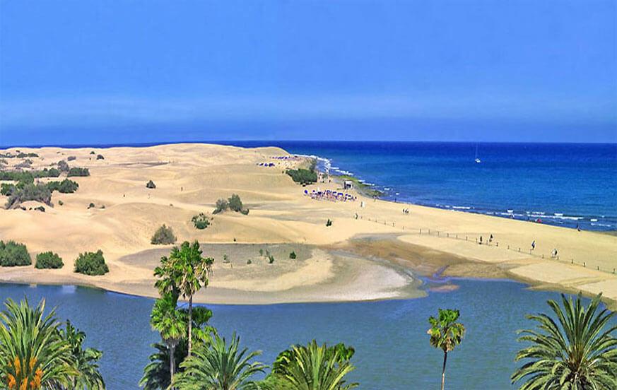 Mooi huis stijl strand maritieme uitzicht op de prachtige duinen van Maspalomas