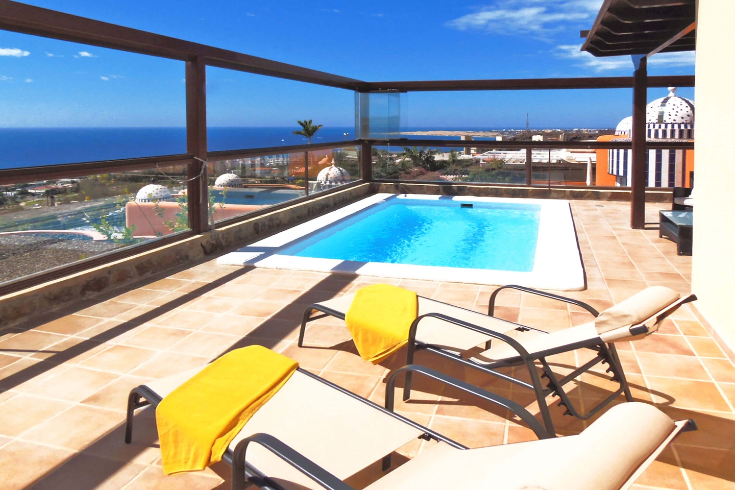 Modern villa with private pool and stunning terrace with panoramic views over the rooftops of San Agustin towards the sea