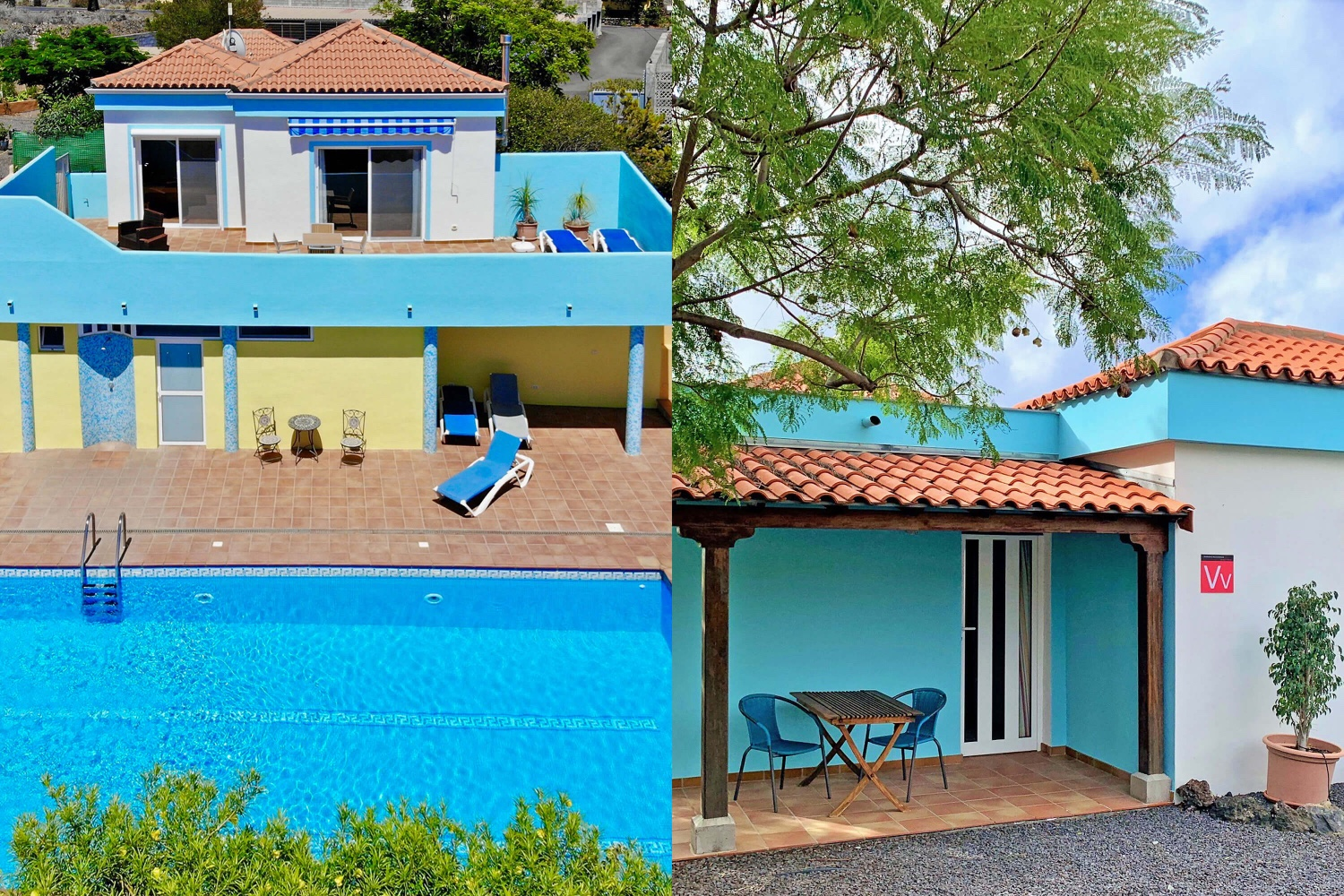 Cheerful holiday home for 4 people with large terrace overlooking the sea and the mountains and communal pool